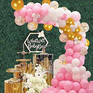 Pink Balloon Arch Kit Balloon Garland - 131 Pieces White Gold Confetti Pink and Gold Balloons for Baby Shower Party Birthday Wedding Graduation Background Decorations