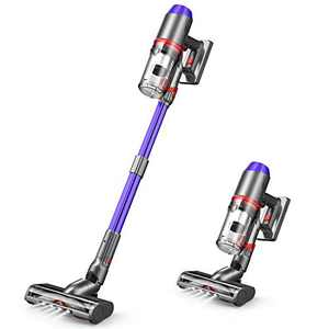 ONSON Cordless Vacuum Cleaner, 3 Gear Suction Adjustment Stick Vacuum, 55 Minutes Long Runtime Vacuum Cleaner with Upgraded V-shaped Roller Brush, Detachable Battery for Deep Cleaning, Lightweight