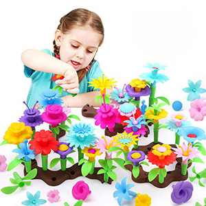 REMOKING Flower Building Toy Set, Educational Garden Bouquet Blocks (127 PCS) , Creative Floral Arrangement Arts and Crafts, Great Gifts for Kids 3 Years and up