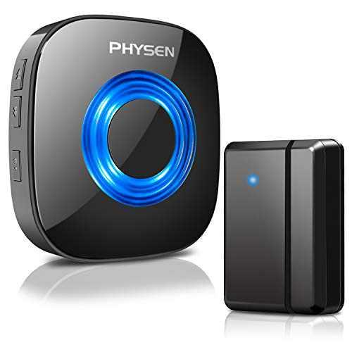 PHYSEN Door Chime Wireless Door Open Sensor Magnetic Door Alarms for Business/Home/Office, Adjustable 58 Chimes & 5 Volume Level, 600ft Range, Mute Mode, LED Flash - 1 Door Sensor+1 Receiver