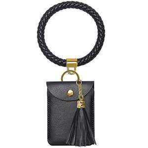 Amazon Essentials Keychain Bracelet, Leather Wristlet Keychain Bracelet with Tassel for Women
