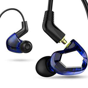 1DD+2BA 3 Drives Hybrid Earphone Wired Earbuds with Mic HiFi Noise Isolating Stereo in Ear Monitor Headset with Detachable Cable Blue