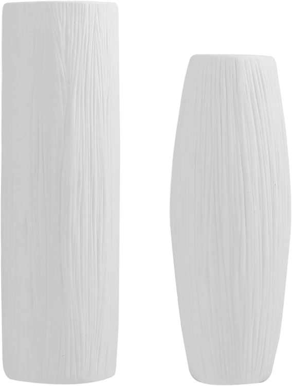 FanChose Ceramic Vase for Home Decor, White Flower Vase with Textured Surface for Home Office Hotel Floral Arrangements Gift Box Packaged, Set of 2