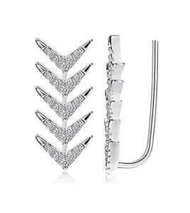 Sllaiss 925 Sterling Silver Arrow Crawler Earrings for Women Cubic Zirconia Cuff Earrings Ear Climber Earrings Hypoallergenic (Silver)