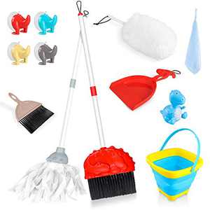 Mop Broom and Dustpan Set 8 Piece Kids Cleaning Set Mini Housekeeping Cleaning Tools for Home Kitchen Cleaning Supplies Kids Bucket, Broom, Mop, Cloth, Duster, Brush, Dustpan for Children Cleaning Toy