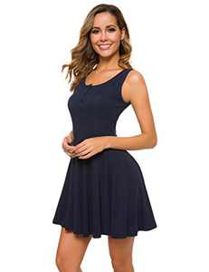 M T 4 YOU Women Summer Casual Short Sundresses Mini Tank Dresses Dark Blue