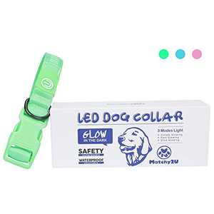 MATCHY2U Rechargeable Led Dog Collar - Soft and Adjustable Waterproof Light up Safety, Makes Your Dog Visible and Safe