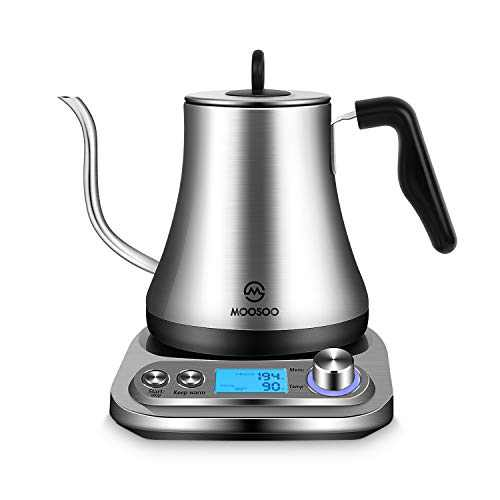 MOOSOO Electric Gooseneck Kettle with Variable Temperature Control & Presets, Pour Over Coffee/Tea Kettle, 100% Stainless Steel Inner Lid & Bottom,1000W Rapid Heating, 0.8L, Black