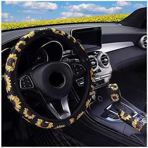 Ranxizy Neoprene Cloth Washable Sunflower Steering Wheel Cover Handbreak Cover Gear Shift Cover for Universal Car 1 Set 3 Pcs
