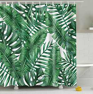 Diamerd Cactus Tropical Green Shower Curtains for Bathroom - Waterproof Fabric No Fading Polyester Stall Shower Curtain 72 × 72 Inch with 12 Hooks