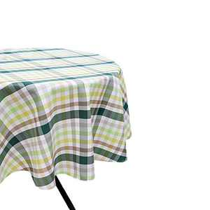 HARORBAY Round Tablecloth 70 Inch for Outdoor, Fall Checkered Picnic Table Cloth, Waterproof Fabric Table Cover for Parties Camping (Green)