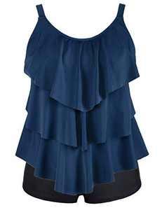 Cadocado Women Plus Size Bathing Suit Ruffle Layered Tankini Swimsuits with Boyshorts Tummy Control Swimwear,Gray Blue,US 18