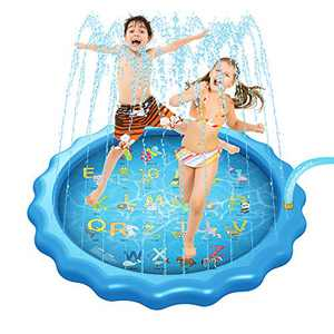 """IOKUKI Sprinkler Play Mat,Splash Pad with Water Balloons Quick Fill,Outdoor Sprinkler Water Toys,Baby Wading Pool for Learning,68"""" Splash Play Mat for Toddler Kids Girls and Boys"""