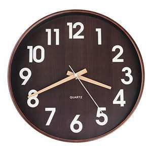 Egundo 12 Inch Silent Plastic Wood Wall Clocks,Quartz Movement Battery Operated Large Number Wall Clock,Round Imitation Wood Grain Clock for Kids Boys Bedroom Kitchen Living Room Home Decor