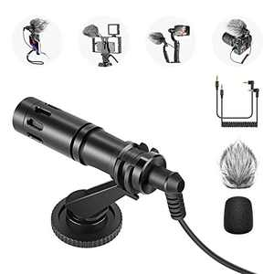 Neewer CM14 Microphone for Phone, Mini On-Camera Video Microphone with Mic Mount, Windscreen, Audio Cables Compatible with iPhone/Android Phone/DSLR Camera/Camcorder (Adapter for iPhone Not Included)