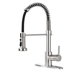 BZOOSIU Pull Down Sprayer Kitchen Faucet, Solid Brass Kitchen Sink Faucet with Deck Plate, Commercial Spring Single Handle Kitchen Faucet, Brushed Nickel