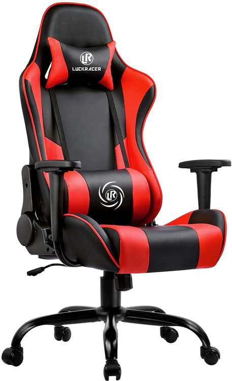 LUCKRACER Gaming Chair Ergonomic Desk Chair Racing Style Office Computer Chair With High Back Support 360° Swivel 150° Reclining Rocking Function For Children, Teenagers And Adults - Red