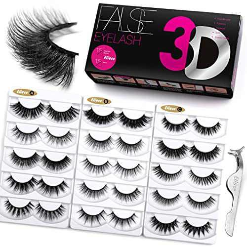 Eliace Fluffy Eyelashes 3D Mink Lashes Cat Eyes 15 Mixed Styles 15 Pairs Reusable Soft Fake Eyelashes Volume Strip Lashes Natural Look Wispies & Big False Eyelashes Pack - with False Lashes Tweezers
