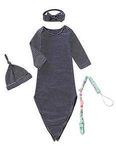 MoryGooder Newborn Boys Girls Stripe Cotton Nightgowns Unisex Solid Color Sleepwear with Pacifier Clip (Royal Blue stripes,0-6 Months)