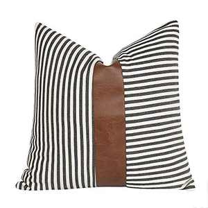 cygnus Decorative Throw Pillow Covers Ticking Striped Stitching Faux Leather Modern Farmhouse Cushion Cover for Couch Sofa Bed 18x18 inch,Black