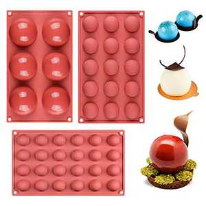 Semi Sphere Silicone Mold - 3 Size Semicircle Baking Molds for Chocolate, Cake, Dome Mousse, Jelly (3 size)