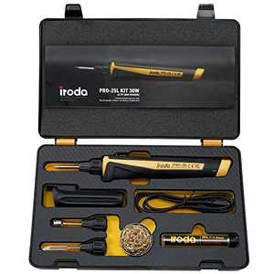 Iroda PRO-25LK Solderpro Cordless Rechargeable Lithium Ion Battery Soldering Iron Kit. 3-In-1 Tool. Soldering, Hot Knife, Heat Blower. (Made In Taiwan)