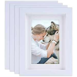 AEVETE 5x7 Picture Frames White (4 Pack) Made of Natural Solid Wood, Display Pictures 5x7 4x6, Both Vertical and Horizontal Supported