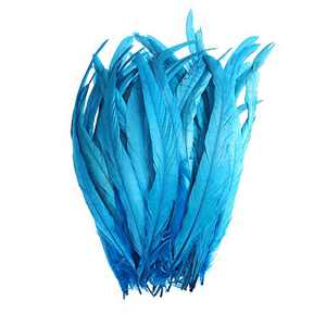 50PCS Rooster Coque Tail Feathers - 12-14inch Natural Tail Feather for Costume Wedding Theme Party Decoration(Blue)