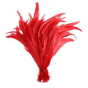 50PCS Rooster Coque Tail Feathers - 12-14inch Natural Tail Feather for Costume Wedding Theme Party Decoration(Red)