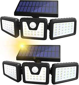 Solar Lights Outdoor, Sonata 3 Adjustable Heads Solar Powered Outdoor Lights, 800LM 6000K Solar Motion Sensor Light Outdoor, IP65 Waterproof, Wide Angle Illumination for Garage, Garden
