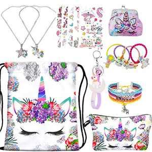 RLGPBON Unicorn Gifts for Girl Drawstring Backpack/Makeup Bag/Unicorn Pendant Necklace/Bracelet/Hair Ties