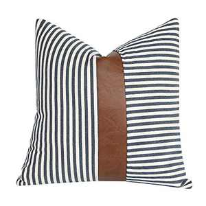 cygnus Farmhouse Decorative Throw Pillow Covers Ticking Striped Stitching Faux Leather Modern Boho Cushion Cover for Couch Sofa Bed 18x18 inch,Navy Blue