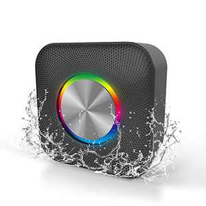 EDUPLINK Bluetooth Speakers Portable Wireless Speaker with Louder Crystal HD Stereo Sound, IPX6 Waterproof Speaker with Party Lights for Outdoor Parties Black