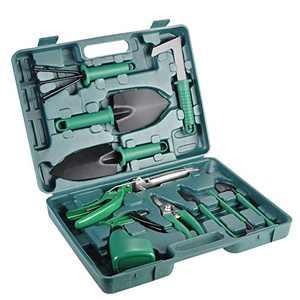 Lelekey Garden Tool Set, 12 Piece Stainless Steel Hand Tool Kit with Shovel Rake Weeder Pruner Shear Sprayer & Carrying Case, Gardening for Men,Women Gardener & Plant Lover (Green)