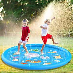 "FomaTrade Splash Pad,Upgraded 68"" Sprinkle and Splash Play Mat, Inflatable Outdoor Sprinkler Pad Water Toys for Children Blue"