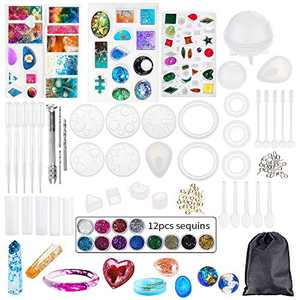 Heflashor Silicone Resin Molds Jewelry Making Starter Kit - DIY Resin Kits for Beginners with Silicone Molds and Resin Craft Supplies - for Keychain Jewelry Craft Making Epoxy Resin Mold Cube Pyramid
