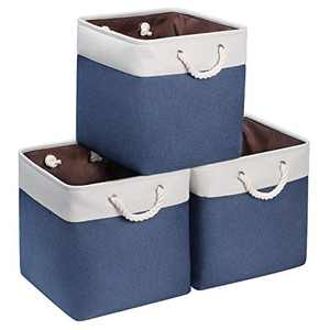 Syeeiex 13 Inch Cube Storage Bins, Storage Basket, Foldable Fabric Bins, Cube Organizer Storage Bins with Handles for Nursery Home, Bedroom, Navy Bule, 3-Pack