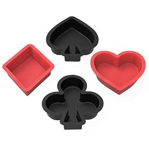 Silicone Muffin and Cupcake Pans - Set of 4 - SILIVO Non-stick Poker-Shape Silicone Baking Molds for Cake,Cupcake, Pie, Muffin and Brownie - Mini Cake Pans