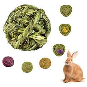 AIYA Rabbit Toys, Rabbit Chew Ball Timothy Grass, Guinea Pig Toys for Teeth Suitable for Bunny, Hamsters