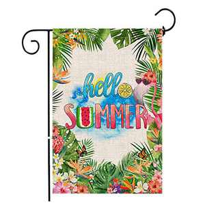 Hexagram Hello Summer Flamingo Garden Flag,Burlap Garden Flag Double Sided,Tropical Jungle Yard Flamingo Outdoor Decor,Small Garden Flag 12x18 Prime