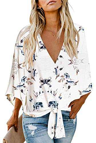 Women's Casual Floral Blouse Batwing Sleeve Loose Fitting Shirts Boho Knot Front Tops White L