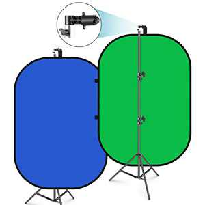 Neewer 5'x7' Chromakey Blue-Green Collapsible Backdrop with Support Stand Kit: 2-in-1 Reversible Background Pop-Up Green Screen Blue Green Panel for Photo Studio Video Shooting, Live Streaming etc