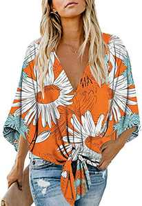 Women's Casual Floral Blouse Batwing Sleeve Loose Fitting Shirts Boho Knot Front Tops Yellow S