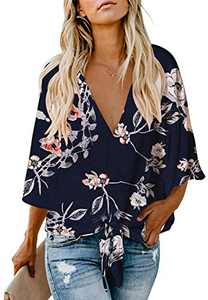 Women's Work Office Floral Blouse Batwing Sleeve Loose Fitting Shirts Boho Knot Front Tops Navy M