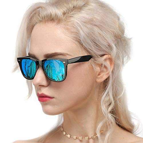 Myiaur Classic Sunglasses for Women Polarized Driving Anti Glare 100% UV Protection (Black Frame/ Blue Mirrored Polarized Lens)