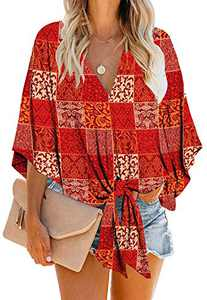 Women's Casual Floral Blouse Batwing Sleeve Loose Fitting Shirts Boho Knot Front Tops Red L