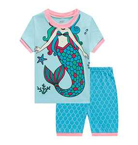 Benaive Pajamas for Girls, Pjs for Girl Cotton Summer Pajama, 2 PCS Children Shorts Set (Mermaid, Light Blue, 4T)