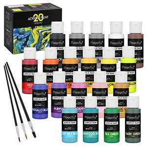 Magicfly Acrylic Paint Set (2fl oz/60ml Bottle), 20 Colors Acrylic Craft Paint with 3 Brushes, Water-Based Acrylic Art Paint for Canvas, Glass, Wood, Stone, Ceramic & Model, Waterproof Acrylic Paints for Adults and Kids