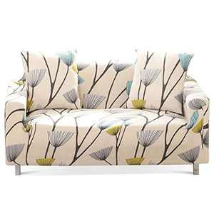 Travan Printed Sofa Cover Stretch Sofa Slipcover Spandex Couch Cover Stylish Couch Furniture Protector for 2 Cushion Couch Loveseat with Two Free Pillowcases