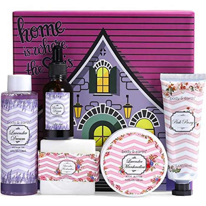 BODY & EARTH Ladies Gifts - 6Pcs Presents for Women, Includes Body Butter, Hand Cream, Shower Gel, Massage Oil, Bath Bar, Birthday Gifts for Women